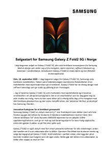 Salgsstart for Samsung Galaxy Z Fold2 5G i Norge