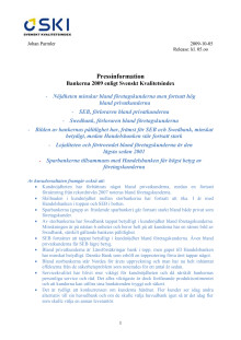 Bankerna 2009 enligt Svenskt Kvalitetsindex