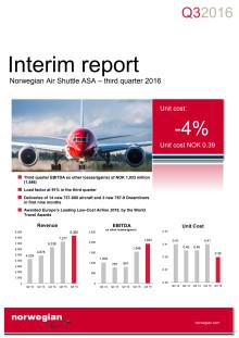 Norwegian Air Shuttle ASA - informe de gestión, tercer trimestre de 2016.