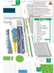 Karta över tillfälliga hållplatser under ombyggnad av Järnvägsgatan utanför Helsingborg C