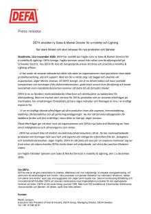 DEFA anställer ny Sales & Market Director för e-mobility och Lighting