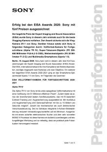 Erfolg bei den EISA Awards 2020: Sony mit fünf Preisen ausgezeichnet