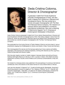BIO of Deda Cristina Colonna, Opera Director and Choreographer