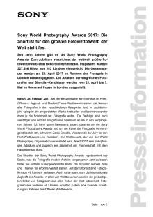 Sony World Photography Awards 2017: Die Shortlist für den größten Fotowettbewerb der Welt steht fest