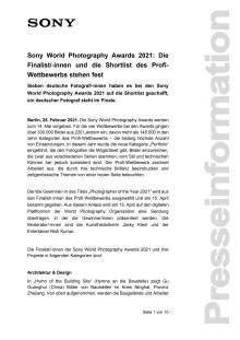Sony World Photography Awards 2021: Die Finalist/-innen und die Shortlist des Profi-Wettbewerbs stehen fest