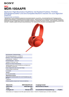 Datenblatt h.ear on von Sony_rot