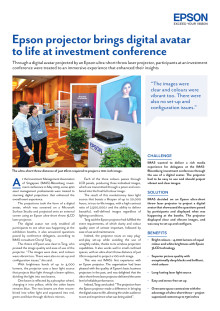 Epson projector brings digital avatar to life at investment conference