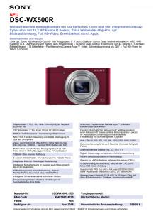 Datenblatt DSC-WX500R von Sony