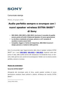 Audio perfetto sempre e ovunque con i nuovi speaker wireless EXTRA BASS™ di Sony