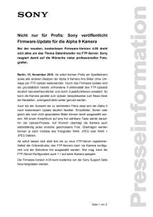 Nicht nur für Profis: Sony veröffentlicht Firmware-Update für die Alpha 9 Kamera