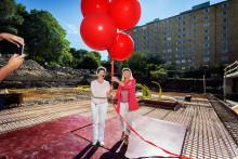 Ballongsläpp 14 våningar upp när Stena Fastigheter startar sin första nyproduktion i Göteborg