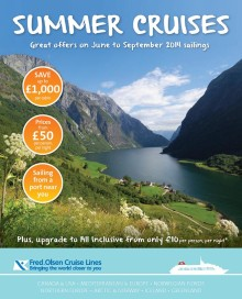 Savings of up to £1,000 per cabin in Fred. Olsen Cruise Lines' new 'Summer Cruises' brochure
