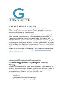 Auktoriserat Golvföretag - kriterier för entreprenörer