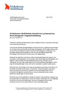 Friskolornas riksförbunds yttrande över promemorian Brett deltagande i högskoleutbildning, Dnr U2017/03082/UH