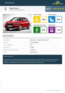 Skoda Kamiq Euro NCAP datasheet September 2019