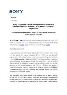 Sony laajentaa kokokuvaobjektiivien mallistoa lanseeraamalla 24mm F1.4 G Master™ Prime -objektiivin