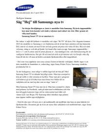 """Äntligen hemma: Säg """"Hej"""" till Samsungs nya tv"""
