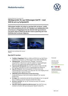 Världspremiär för nya Volkswagen Golf R