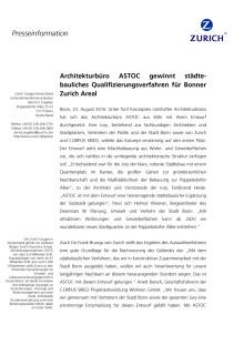 Architekturbüro ASTOC gewinnt städtebauliches Qualifizierungsverfahren für Bonner Zurich Areal