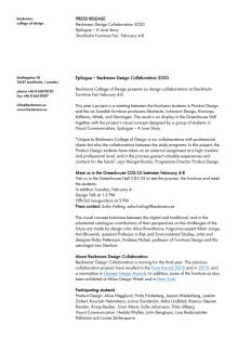Press release - Beckmans Design Collaboration 2020, English