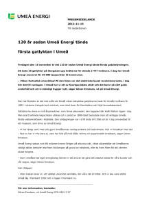 120 år sedan Umeå Energi tände första gatlyktan i Umeå
