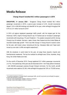 Changi Airport handled 68.3 million passengers in 2019