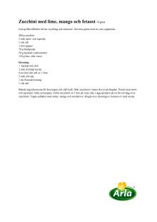 Recept Zucchini med lime, mango och fetaost