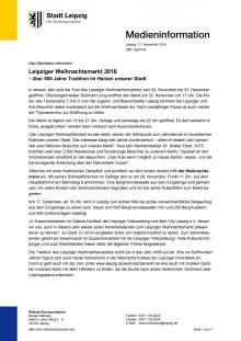 Pressemitteilung vom Marktamt Leipzig: Weihnachtsmarkt 2016