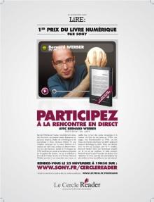 Sony crée le premier Prix du livre numérique « littératures de l'Imaginaire » avec Lire et lexpress.fr/culture