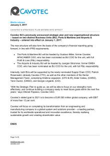 Cavotec's strategic plan enters into effect