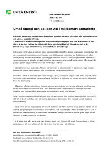 Umeå Energi och Boliden AB i miljösmart samarbete