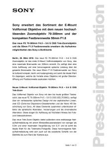 Sony erweitert das Sortiment der E-Mount Vollformat Objektive mit dem neuen hochauflösenden Zoomobjektiv 70-300mm und der kompakten Festbrennweite 50mm F1.8