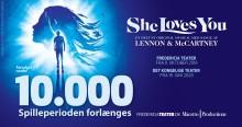 SHE LOVES YOU runder 10.000 solgte billetter og forlænger med en uge i Fredericia