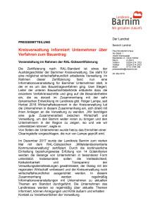 Kreisverwaltung informiert Unternehmer über Verfahren zum Bauantrag