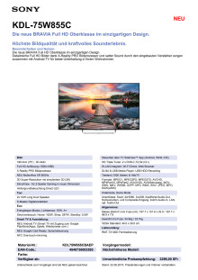 KDL-75W855C von Sony