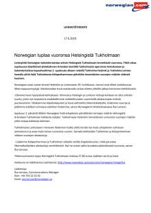 Norwegian tuplaa vuoronsa Helsingistä Tukholmaan