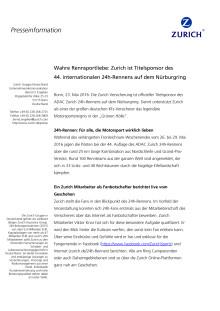 Wahre Rennsportliebe: Zurich ist Titelsponsor des 44. internationalen 24h-Rennens auf dem Nürburgring