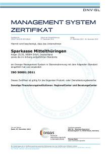 Management System Zertifikat der Sparkasse Mittelthüringen