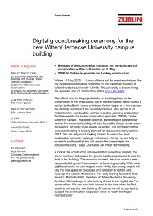 Digital groundbreaking ceremony for the new Witten/Herdecke University campus building