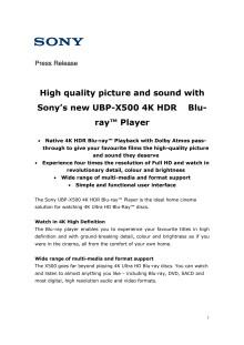 Sony lanserer ny 4K HDR Blu-ray™-spiller med støtte for Dolby Atmos