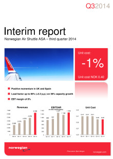 Norwegian Air Shuttle ASA - Third quarter interim report
