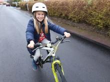 Lykke är ett av nästan 1000 barn som deltog i Karlstads cykelkampanj