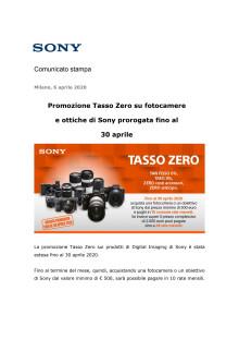 Promozione Tasso Zero su fotocamere e ottiche di Sony prorogata fino al  30 aprile