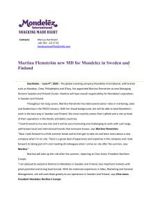 Martina Flemström new MD for Mondelez in Sweden and Finland
