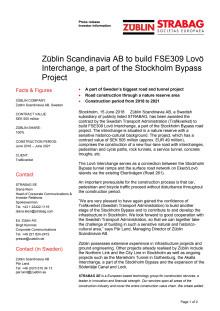 Züblin Scandinavia AB to build FSE309 Lovö Interchange, a part of the Stockholm Bypass Project