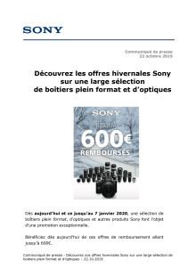 Découvrez les offres hivernales Sony sur une large sélection  de boîtiers plein format et d'optiques