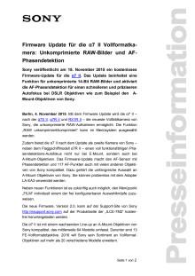 Firmware Update für die α7 II Vollformatkamera: Unkomprimierte RAW-Bilder und AF-Phasendetektion