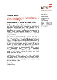 Letzter Projektaufruf für INTERREG-Mittel in der Pomerania-Region