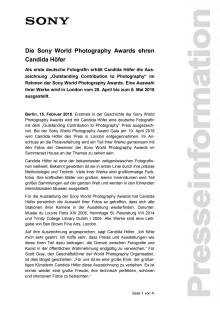 Die Sony World Photography Awards ehren Candida Höfer