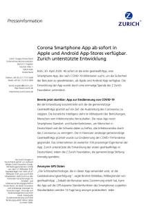 Corona Smartphone App ab sofort in Apple und Android App-Stores verfügbar. Zurich unterstützte Entwicklung